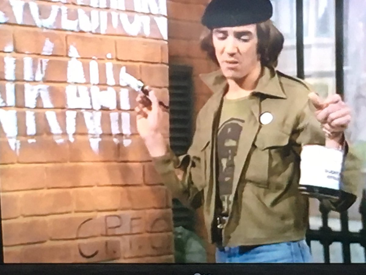 Palace graffiti on the wall Wolfie Smith is painting on. #citizensmith #cpfc