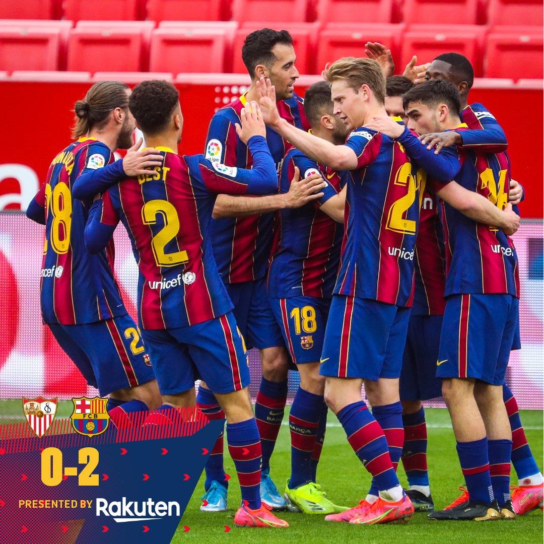 ⏰ ¡Finaaal! ⚽ #SevillaBarça (0-2) 🔥 @Dembouz & #Messi 💪 ¡Gran victoria! 🔵🔴 #ForçaBarça