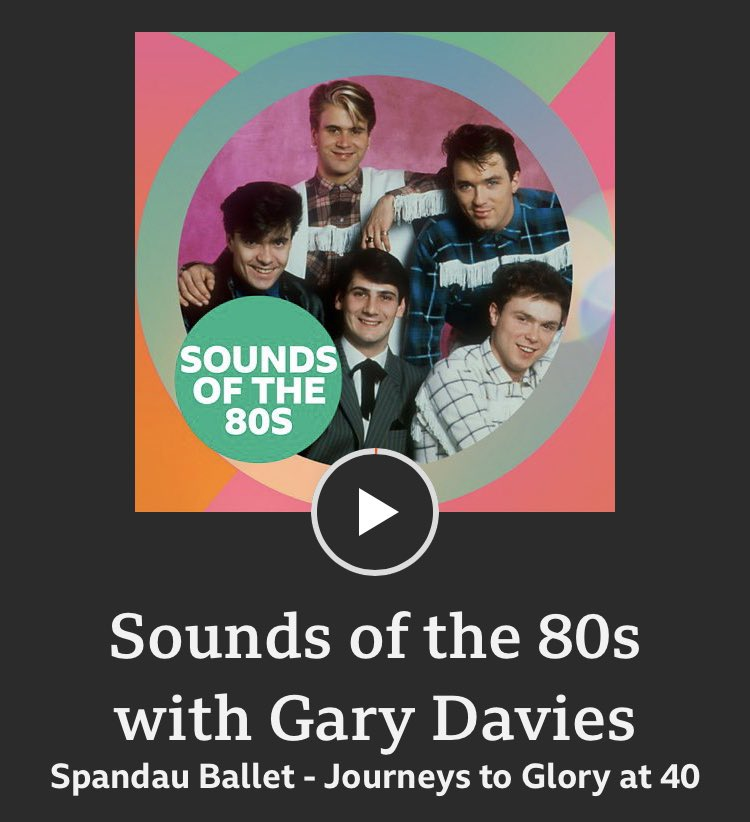 THE SOUNDS OF THE 80s INTERVIEWS Deeper dives with your favourite pop stars - Episode 1 celebrates 40 years of @SpandauBallet's 'Journeys To Glory' 🕊 bbc.co.uk/sounds/play/m0…