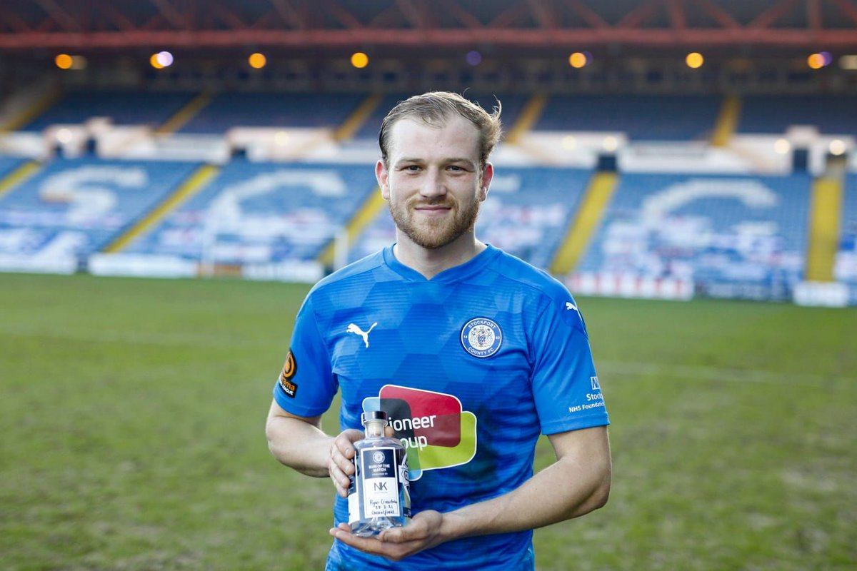 Today's NK Electrical Man of the Match, as chosen by today's match sponsor @ViridorUK, was midfield engine @CroasdaleRyan, for the second game running!  Congratulations Ryan, enjoy your bottle of @stockportgin.  #StockportCounty