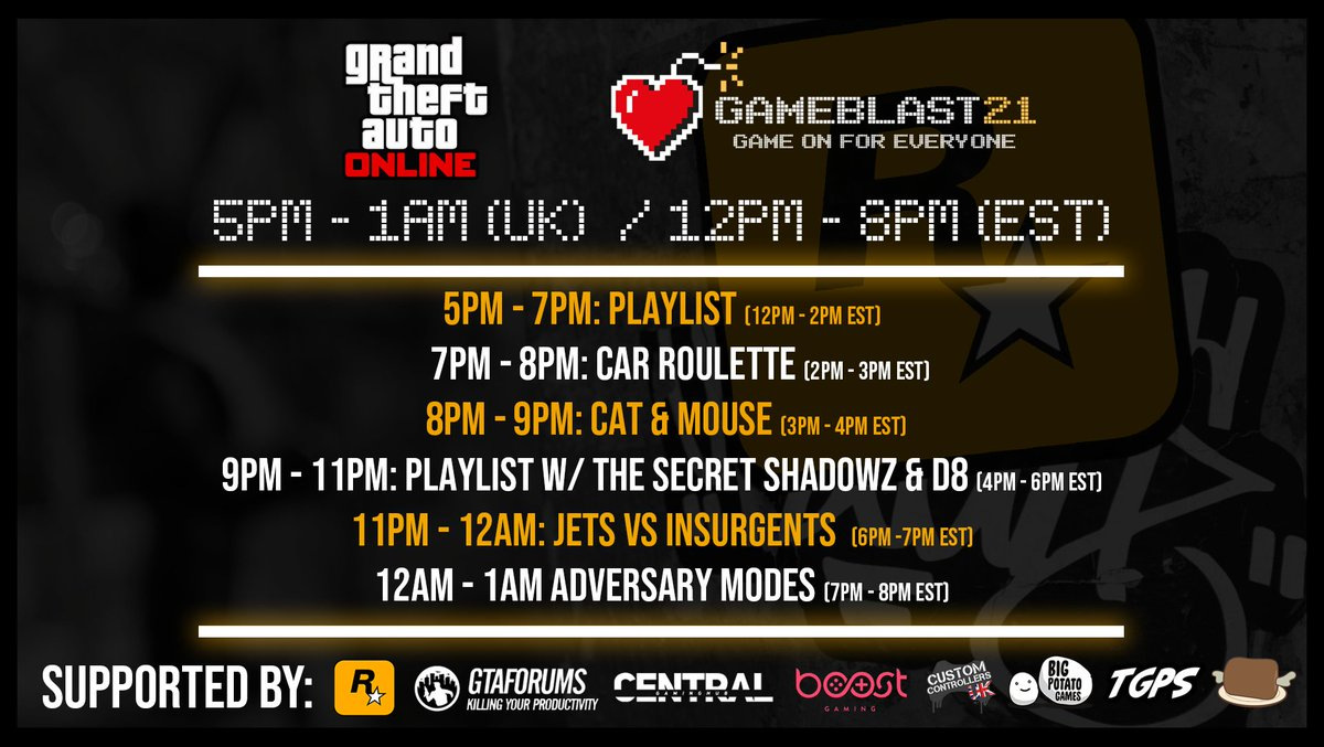 GTA Online is now starting!  Come and join us!  Watch us here:   Donate here!   #GameBlast21 #GTAOnline #RockstarGames