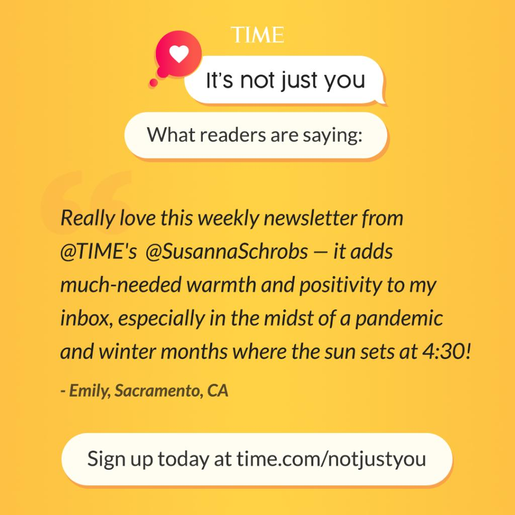 """Feeling disconnected and uncertain? Get comfort, wisdom, and kindness delivered to your inbox weekly with """"It's Not Just You,"""" a new newsletter from TIME Editor at Large @SusannaSchrobs: https://t.co/b6w5msfKVv https://t.co/kndjWBXGBF"""