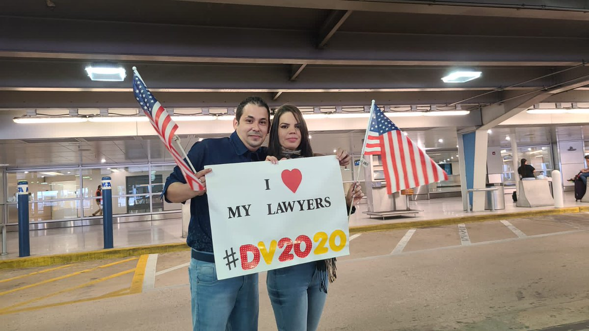 You made this possible guys!These are 2 happy #dv2020visaholders at Miami Intl. Airport.1st day of the rest of our lives THANKS @ckuck @gsiskind @curtisatlaw @rafaesq @AbadirBarre @BritSimonSays @AILANational @jactioncenter @ThinkLawLab #DV2020 #Gomez #NoBan #PP10014