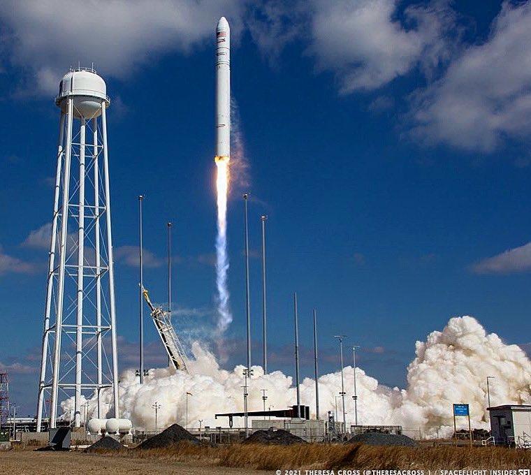 "One week ago today 🔥 ... ""Northrop Grumman's #NG15 #Cygnus cargo #spacecraft has been sent on its way to the @iss after soaring into orbit atop an #Antares 230+ rocket"" lift off from Wallops Island, Virginia, Feb 20, 2021./tc. @SpaceflightIns"