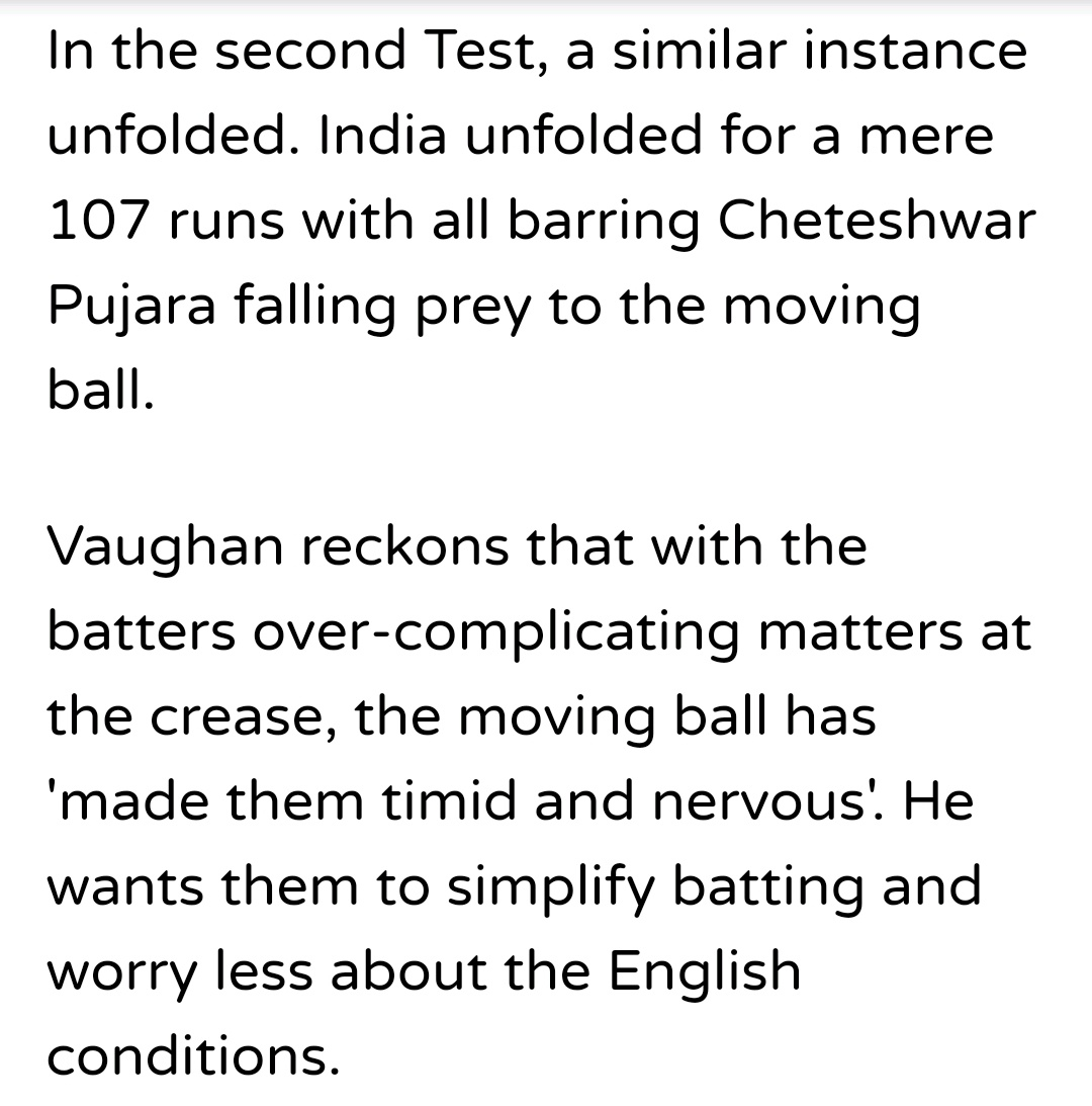 @MichaelVaughan India were skittled for 107 & 130 at Lord's test in 2018 & lost the game by an innings & 159 runs. The game lasted mere 170.3 overs. If not for rain, the game would have finished on Day 2 itself. No one uttered a single word about the pitch/conditions. Read this #OnOn lad take :