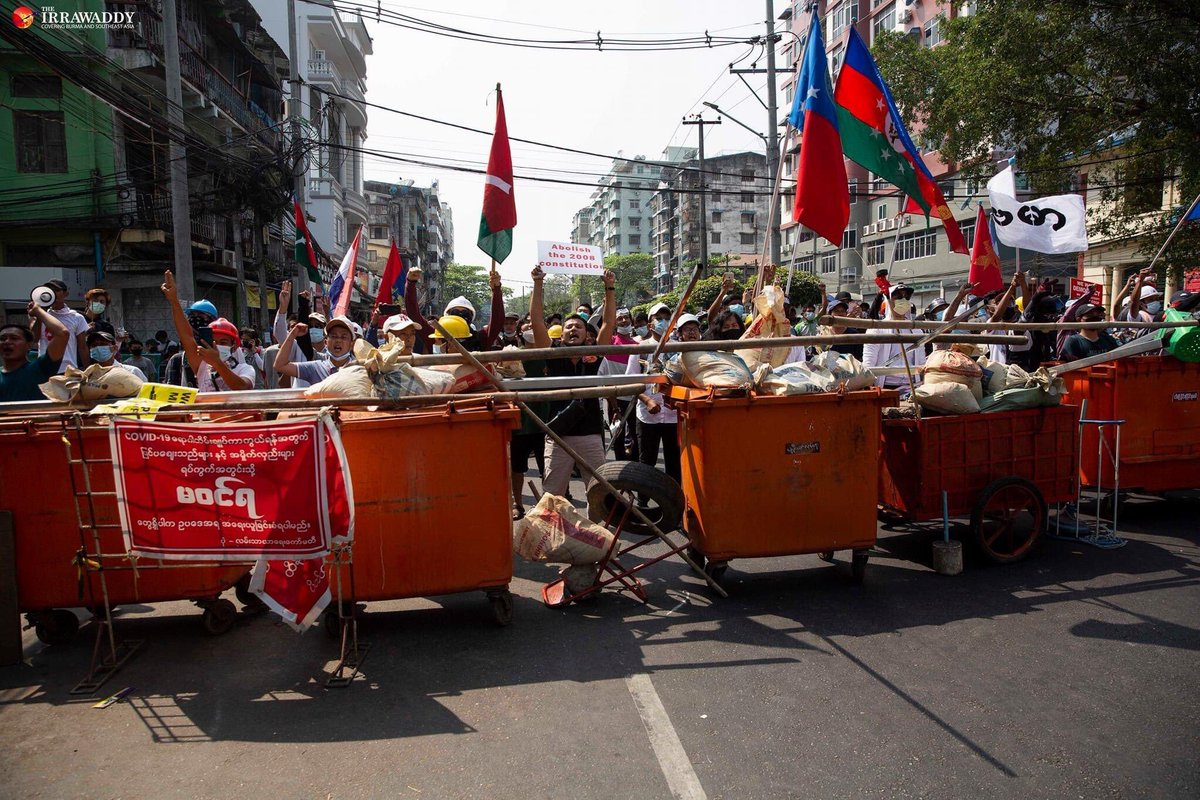 Protestors in Myanmar showed up with safety gear to defend against police aggression. #Feb27Coup #SaveMyanmar #WhatsHappeningInMyanmar