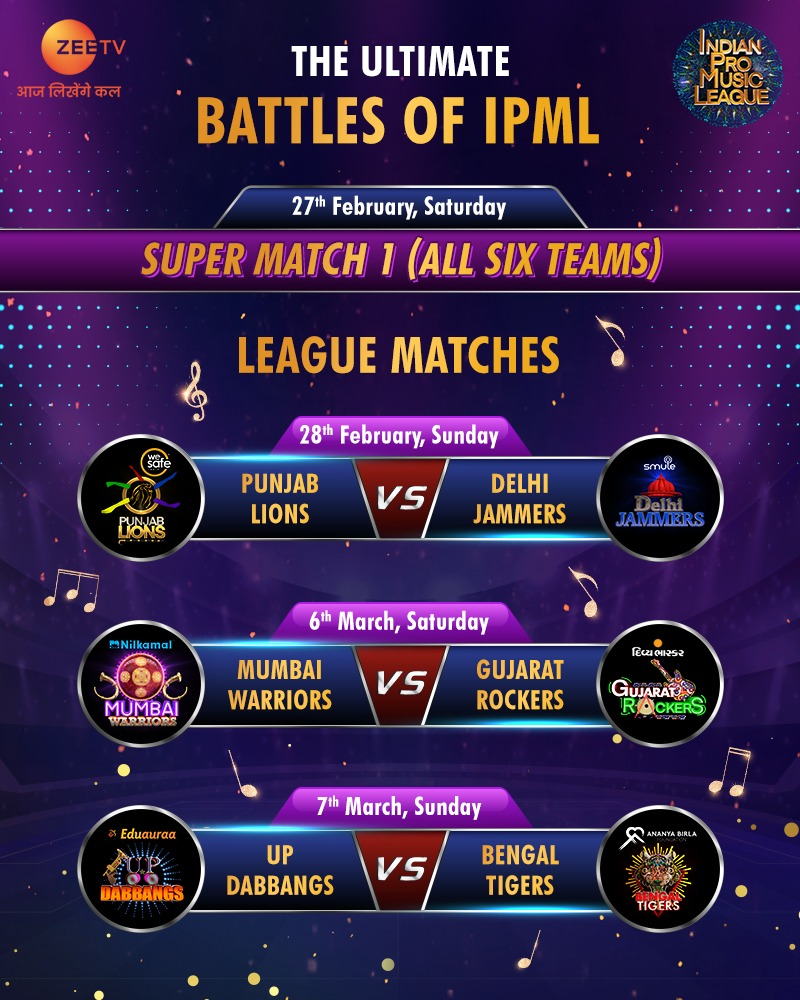 Save the dates to witness a NEVER SEEN BEFORE musical takkar among our six star-studded teams, representing different cultures and battling it out for glory... only on #IPML!   Tune in to#IndianProMusicLeague, every Saturday and Sunday, at 8 pm, only on @ZeeTV & @ZEE5India .