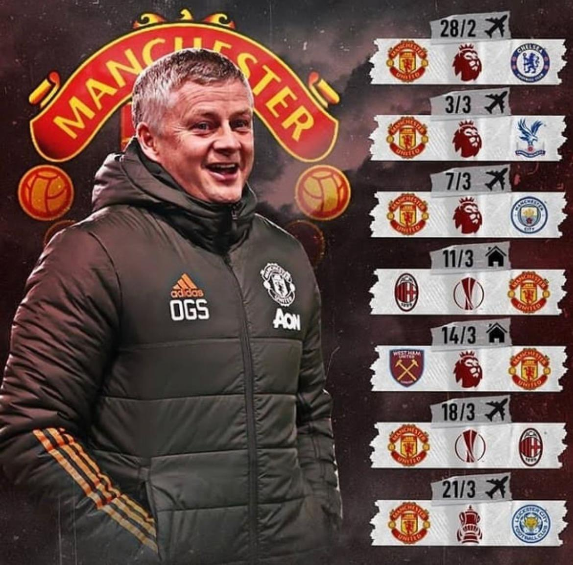 A very tough run ahead! How many if them can we win? #MUFC #TM