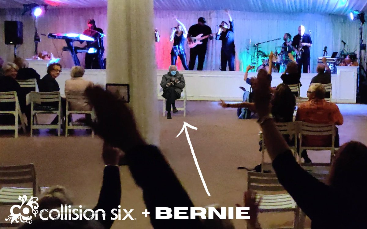 Now, this gig was in the middle of summer, and it was indoors to boot. Why is Bernie so cold? And sad-looking? We don't even play sad songs!  #BernieSanders @BernieSanders #berniesandersmemes #weddingband #coverband #detroitweddings #michiganweddings #mittenweddings