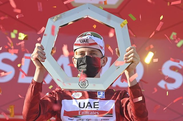 CHAMPION OF THE UAE TOUR 2021 - @TamauPogi 🏆  The most anticipated tour of the season comes to an end as Tadej takes his victory lap #inAbuDhabi for the @uae_tour 2021 championship title.   Huge congratulations to him and our home team @TeamEmiratesUAE  on this incredible win 🙌🏼 https://t.co/0ZKlksjF0Q