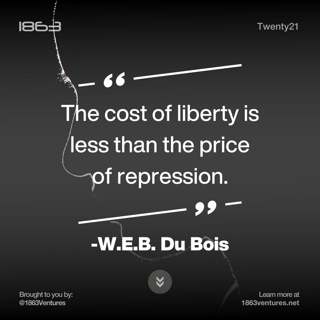 """""""The cost of liberty is less than the price of repression.""""  -W.E.B. Du Bois  #blackwealthmatters #newmajority #Beyond5 #quoteaboutlife #quotestoinspire #BlackHistoryMonth #iamblackhistory #diversityandinclusion #instadaily #instalove"""