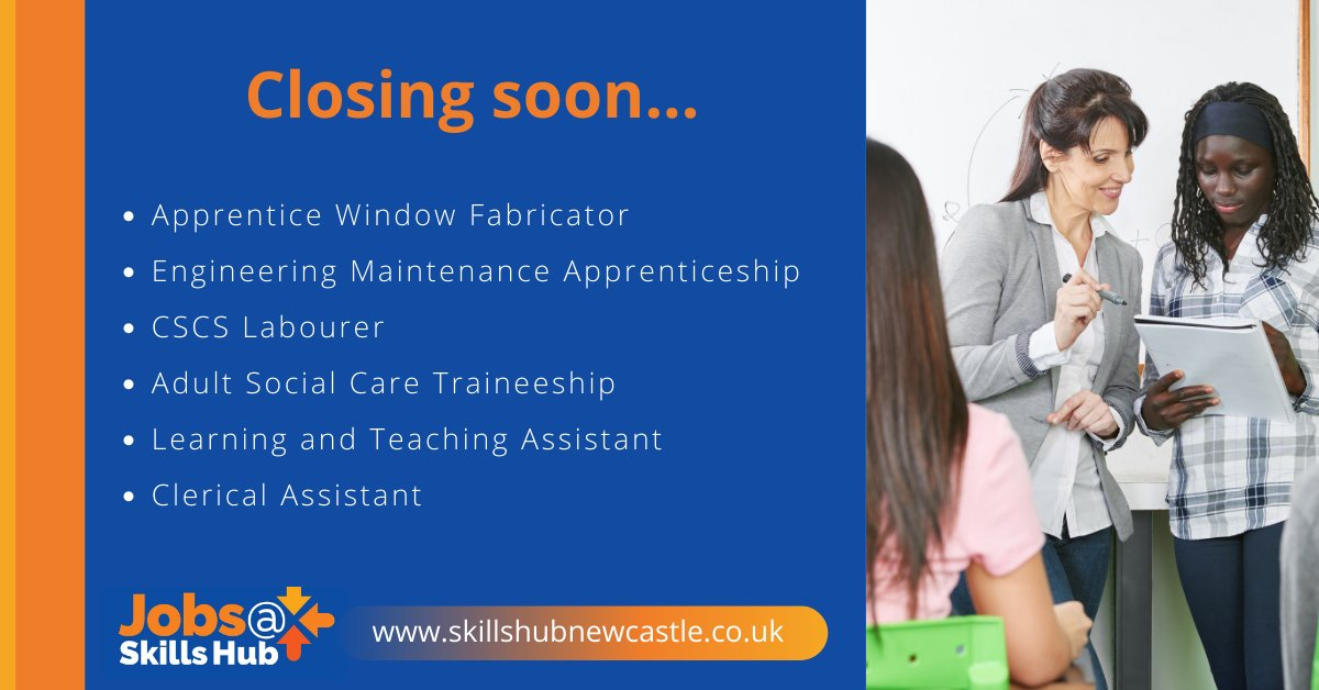 Looking for work? Jobs@skillshub can help. Here are the latest vacancies which close next Friday. Dont delay and register at orlo.uk/X47UG