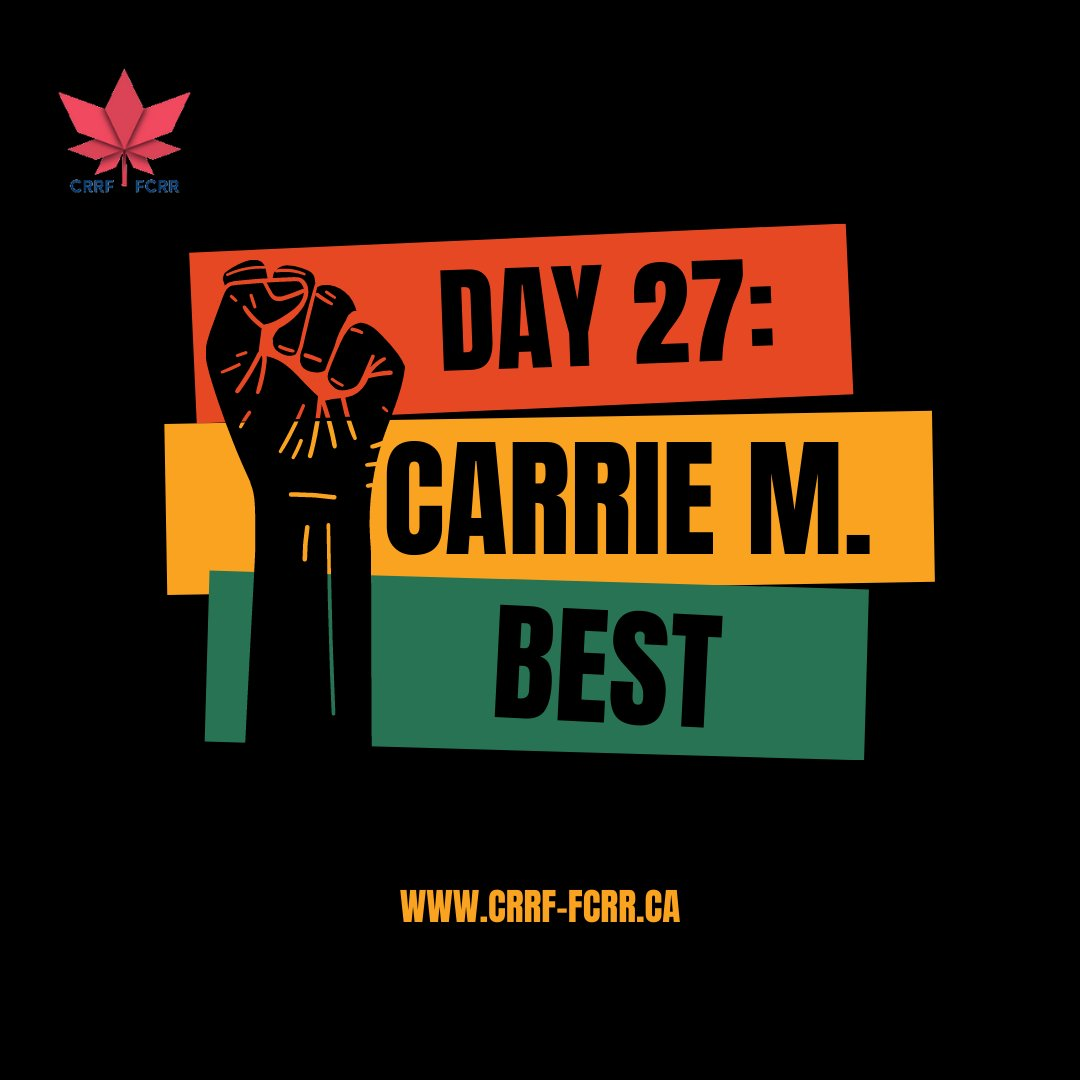 """Day 27 of CRRF's """"#28Days of #Black #Canadian #Excellence"""" belongs to #author, #journalist & human rights defender, @NewGlasgowNS 's very own, Carrie Best.  To learn more about this phenomenal woman, click on the photos! #blacknovascotians #humanrights #violadesmond #novascotia"""