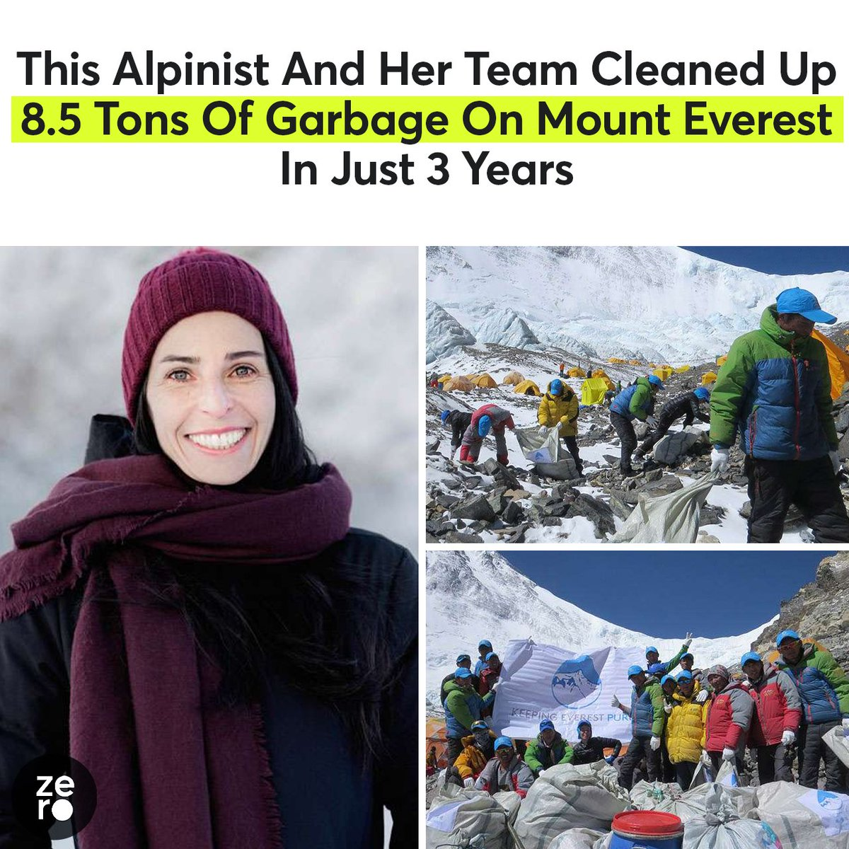 This climber and her team are tidying up the top of the world!