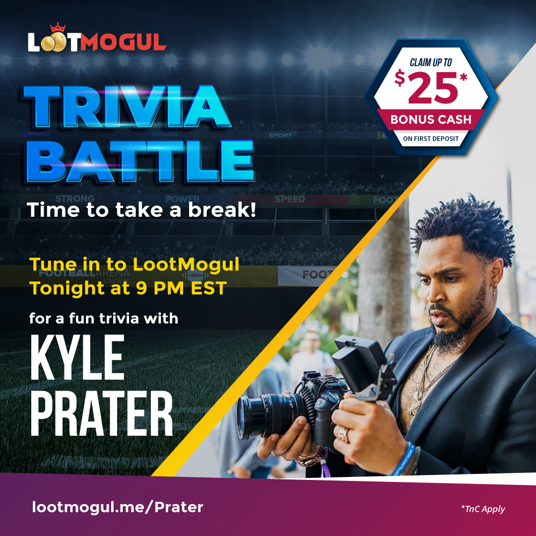Visit  and join @KPraterFootball for a fun Trivia Battle on #LootMogul Quiz Join with friends and compete for rewards!  #NFL #nflfootball #NFLDraft #sports #sportsquiz #dailyquiz #quizcontest #trivia #dailytrivia #winrewards #nyc #usa #instagood #instadaily