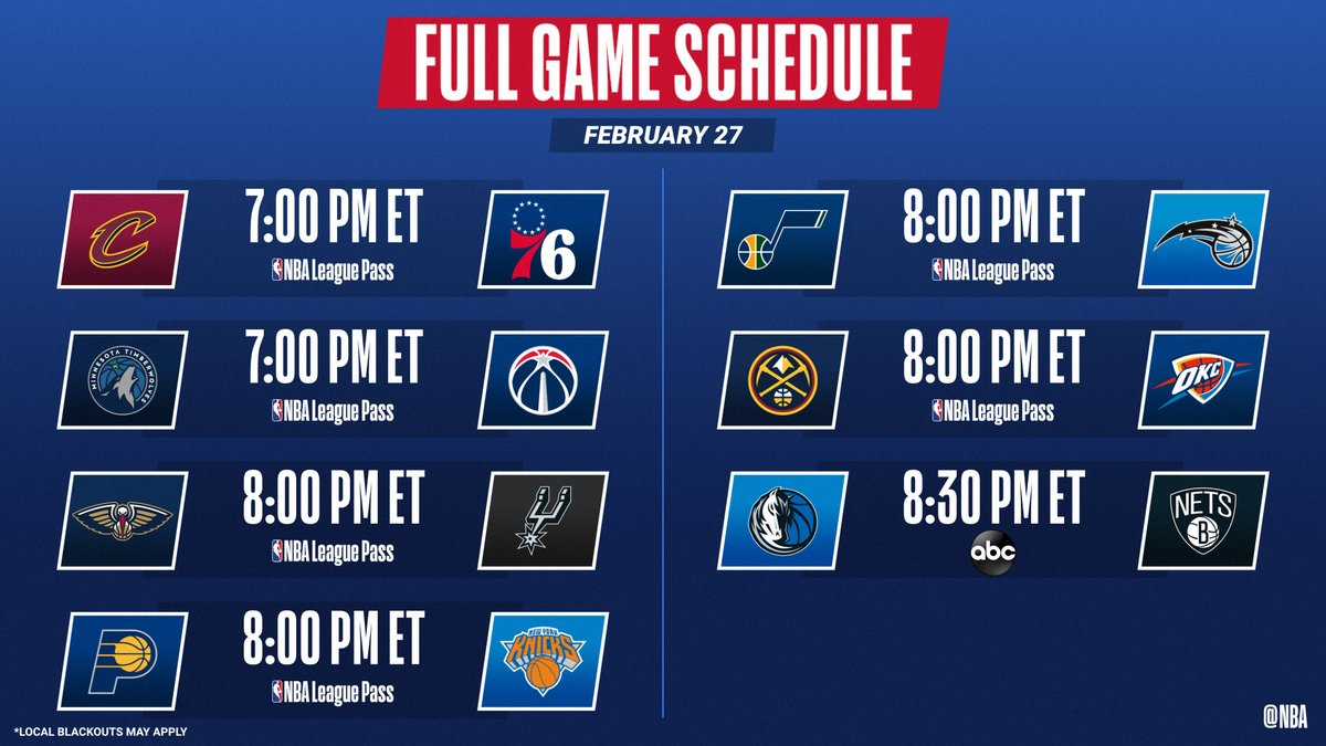 7 games tonight headlined by Mavericks vs. Nets for Saturday Primetime on ABC!  📺: ABC 📱💻: NBA League Pass ➡️: https://t.co/Laecx0GSYx https://t.co/JrXKxIJWAP