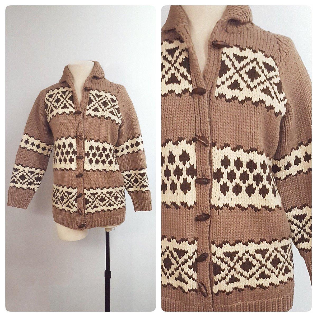 1960s chunky knit cardigan jacket | 60s cowichan style sweater with wood toggles size medium  #Vintagelifestyle #sustainable #vintagefashion #vintageclothing #onlineshopping #Toronto #fashion #retrouverbiz