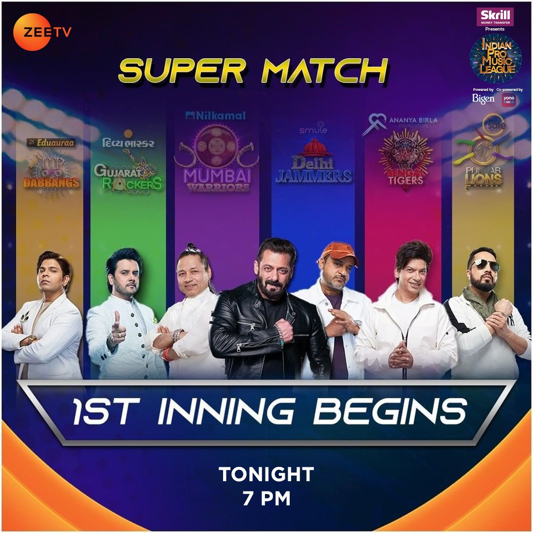6 teams, 6 team captains, and 1 ultimate super match! Just 3 hours to go for a weekend dose of entertainment and musical celebration. Catch the first match of #IndianProMusicLeague, tonight at 7 PM only on #ZeeTVUK  @ipmlofficial @skrill #BigenUK @sbi_uk