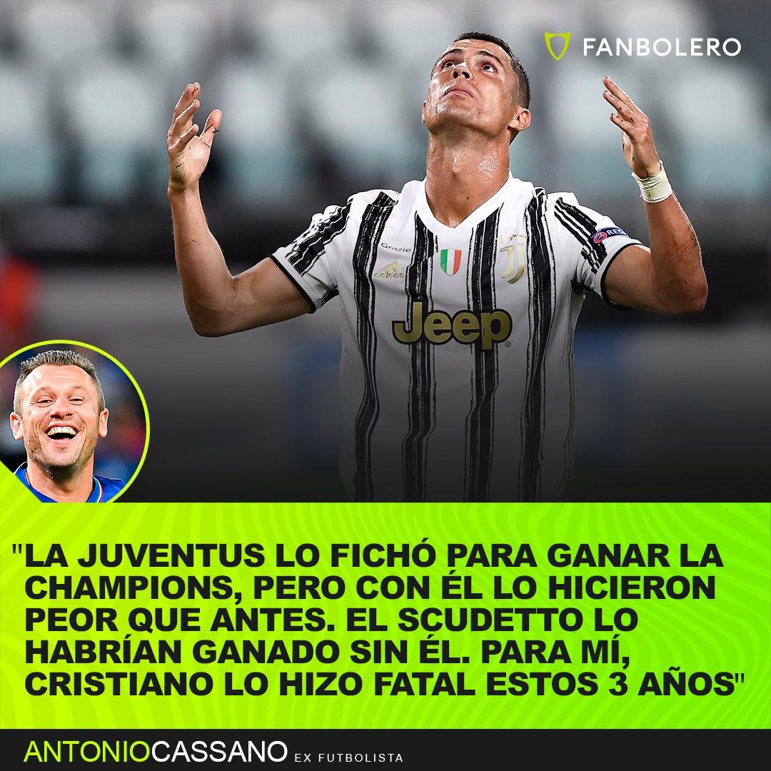 ¿HA FRACASADO EN LA JUVE?  A pesar de que suma 4 títulos y 90 goles en 117 partidos, Antonio Cassano cree que CR7 ha fracasado en la Juve por no ganar la Champions... 🤔⚽🇮🇹 #Cassano #CristianoRonaldo #Juventus #SerieA #ChampionsLeague #UCL #futbol #CR7 https://t.co/eUFKwxAqLh