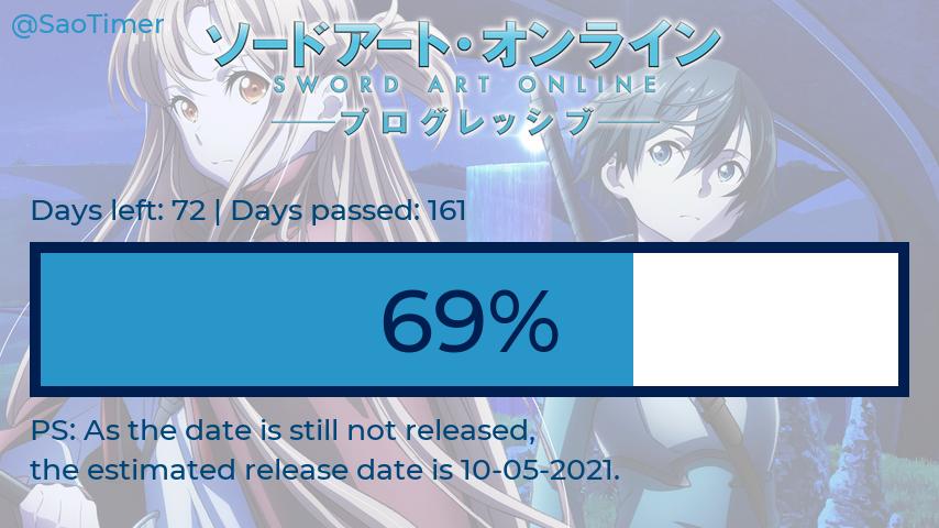 Saturday 27-02-2021  Days before SAO Progressive: 72 Days passed: 161 Percentage: 69.099%  #sao_anime #SAO #progressive #saoprogressive #saotimer #SAOANIMEOFTHESUMMER