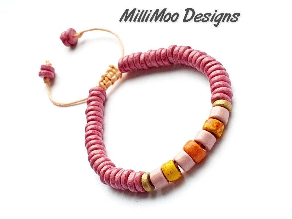 Excited to share the latest addition to my #etsy shop: Ladies/Unisex Orange/Pink/White/Gold Ceramic Bead Bracelet,Mykonos Ceramic Beads,Surf Bracelet,Friendship,Boho,Beach,Tube,Cord,Ibiza,Disc #pink #lovefriendship #orange #yes #women #ceramic #