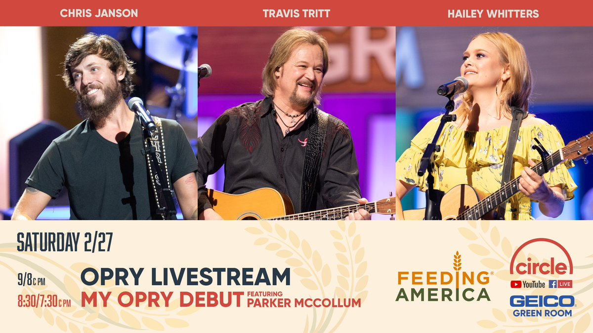 We've got more live music for you TONIGHT! We're teaming up with the @Opry & Gray Television to support @FeedingAmerica. Join us as @Janson_Chris, @TravisTritt, and @HaileyWhitters step into the Circle for a good cause at 9/8c pm! 💪🎶💙 To donate go to