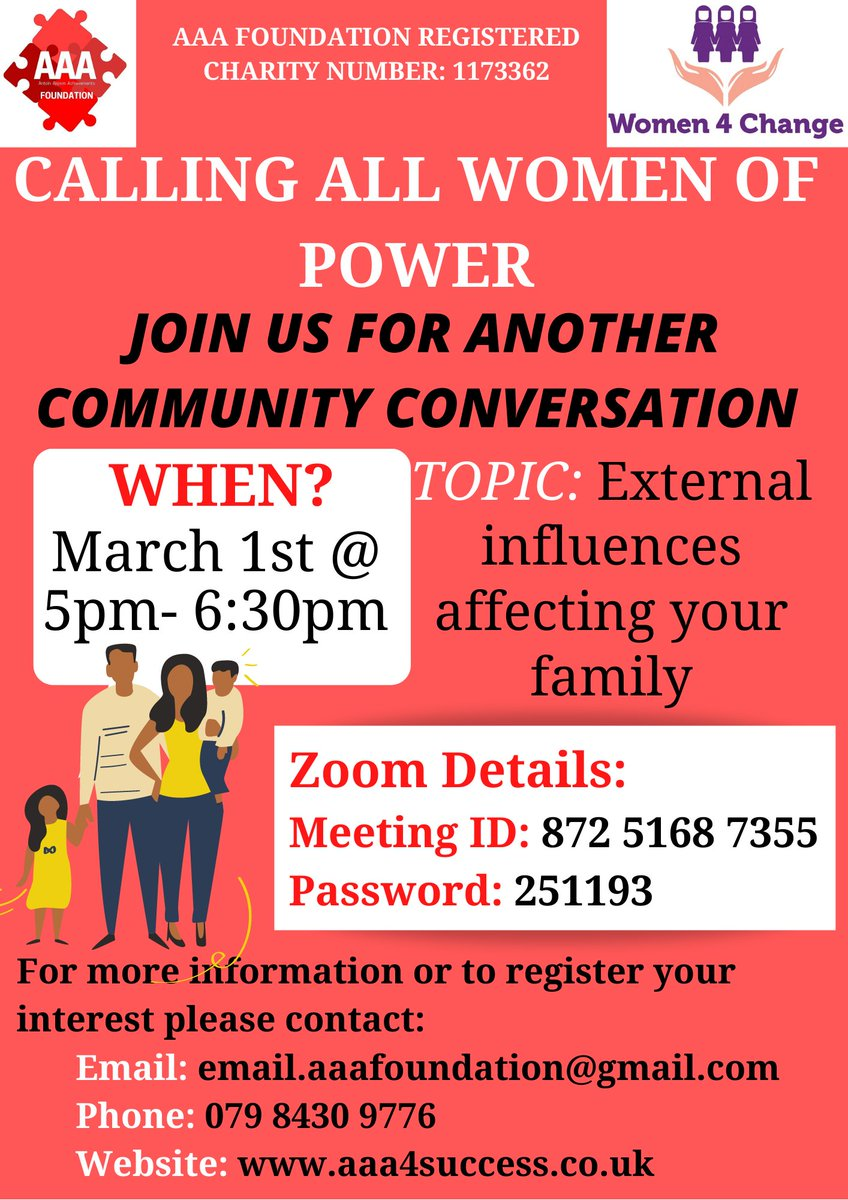 Join us on Monday for our women's community conversation at 5pm! The topic of discussion will be on external influences affecting your family! For more information (and zoom details) see below! @women4changeLei   #women #charity #youth #community #family #BREAKING #family