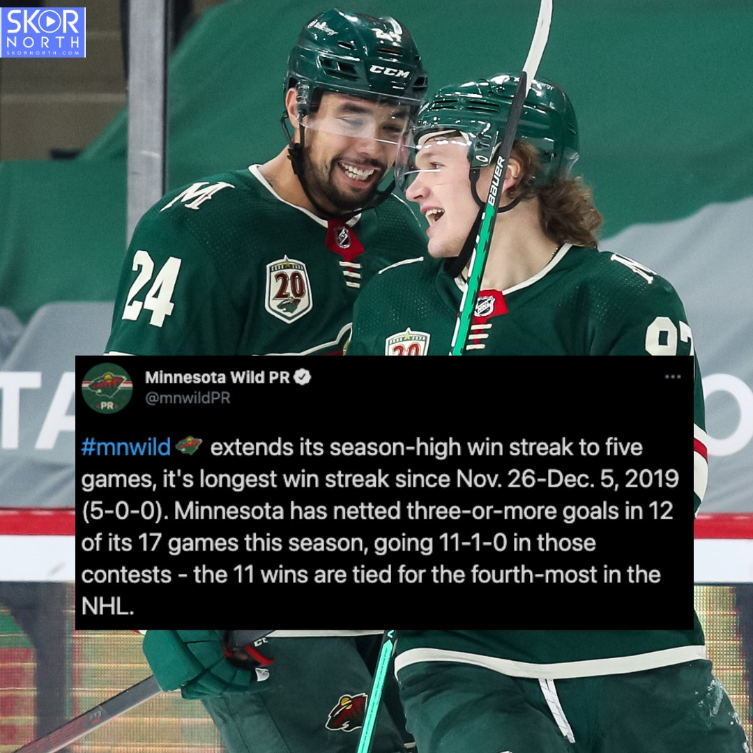 KIRILL THE THRILL: Kirill Kaprizov and the #mnwild have won five in a row and are ONE game out of first place in the West Division. 🙌