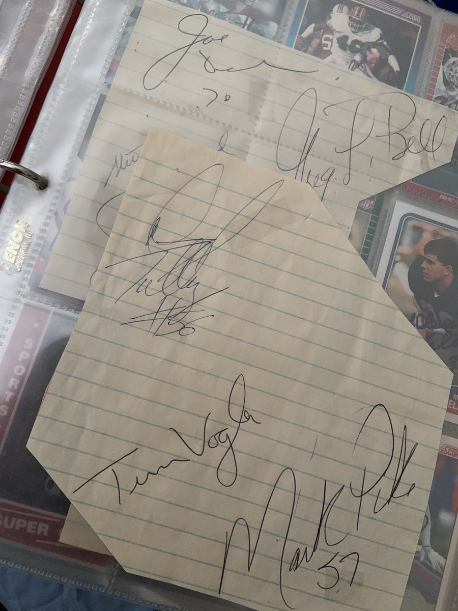 Was showing my son my @BuffaloBills autograph collection from when I was his age. He particularly liked Darryl Talley's script style. (BTW, thanks @DarrylTalley, 34 years after the fact, for signing my notebook at Delaware Park during the 1987 players' strike!) #BillsMafia