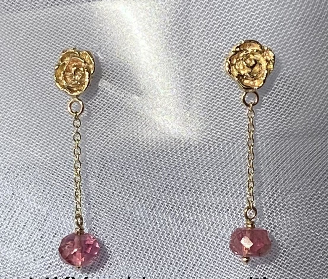 Excited to share the latest addition to my #etsy shop: Gold Roses  #pink #floral #unisexadults #no #gold #earwire #tragus #vankrismar Great Mother's Day gift idea, the roses that will last forever.
