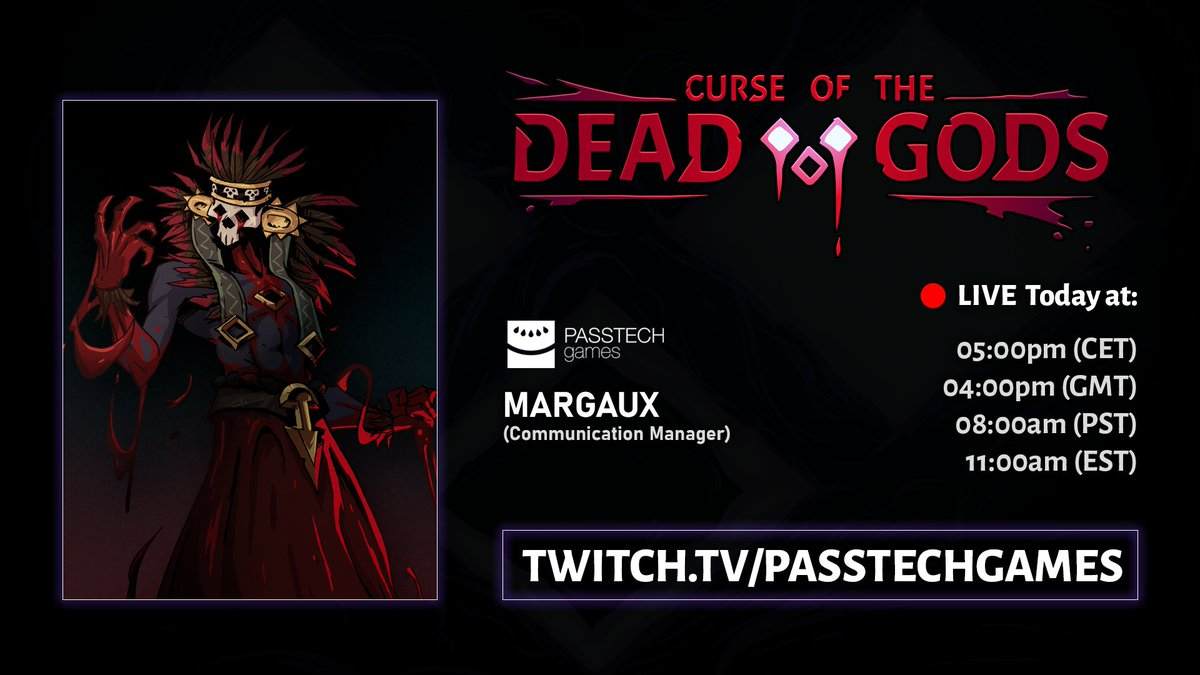 🔴 Annnd we're live!  Margaux will be trying the defeat the final Boss of Curse of the Dead Gods during our devstream today! Come encourage her luck, or try to distract her 😈  ➡️