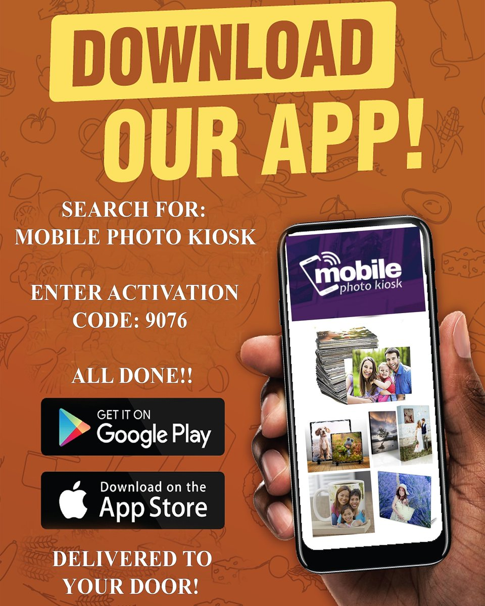 """Download Our App For All Your Photo And Photo Gift Needs!! Just Go To The Apple App Store Or Google Play. Search For """"MOBILE PHOTO KIOSK"""" When Installed Type In Your One Time Activation Code """"9076"""" And Thats It All Done! Your Ready To Start Ordering! #photography #photo #gift"""