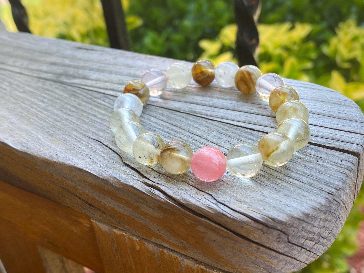 Cherry Quartz is 40% Off!   #etsy #clear #pink #quartz #boho #crystalbracelet #gemstonebracelet #emotionalhealing #anxietyhealing  #selflove #smallbusiness #jewelry #shoplocal
