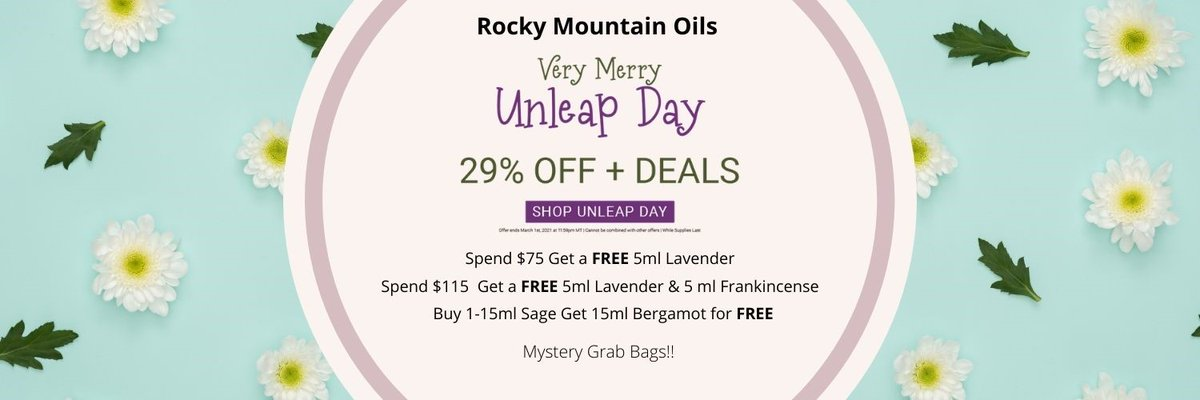 BIG SALE@rockymountainoils...Unleap Day Sale: Get 29% OFF everything+Deals+Mystery Grab Bag $30 value $60. The offer ends March 1st at 12pm.  #essentialoils #lavender #wellness