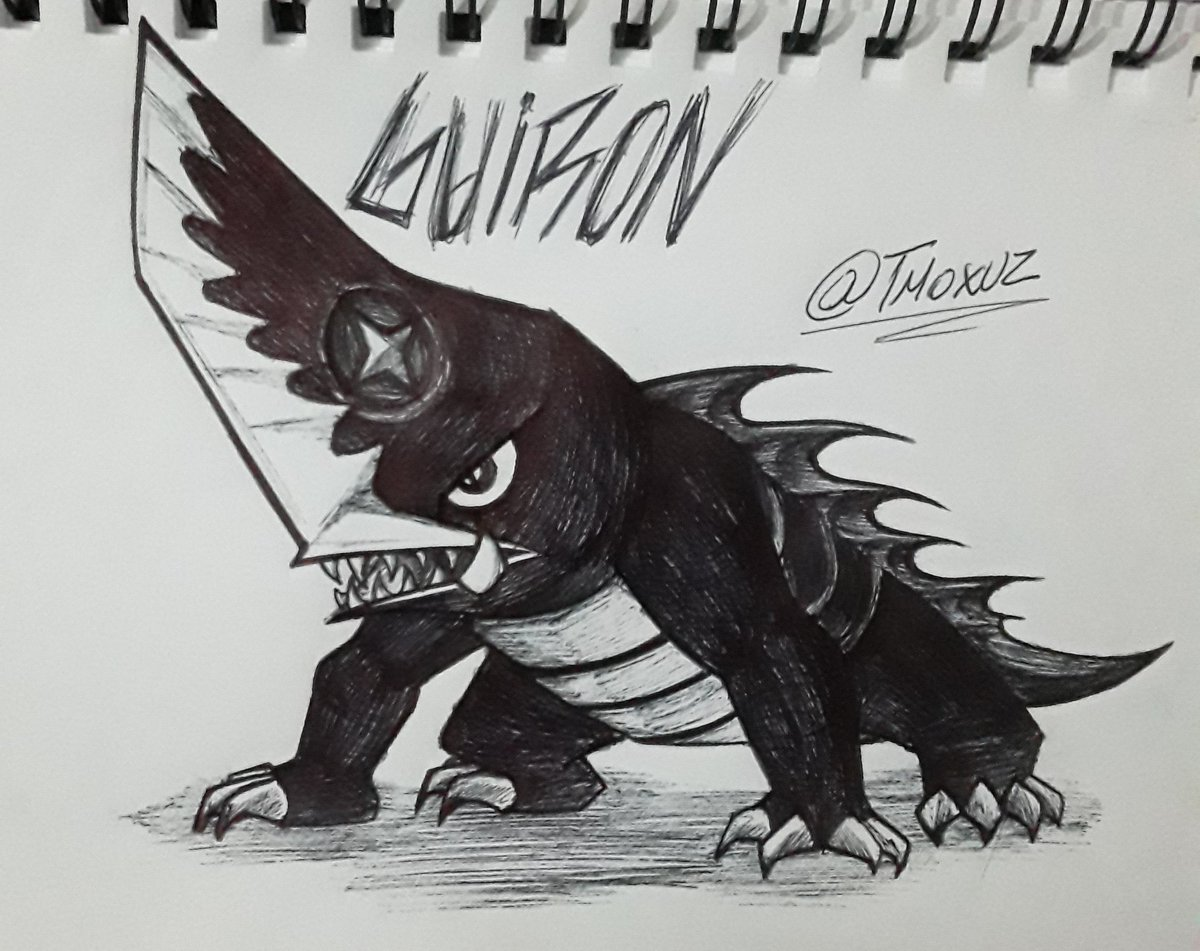 ¡¡¡🔥GUIRON🔥!!! A drawing of my favorite knife head monster that shoots shurikens. XD #Monsterverse