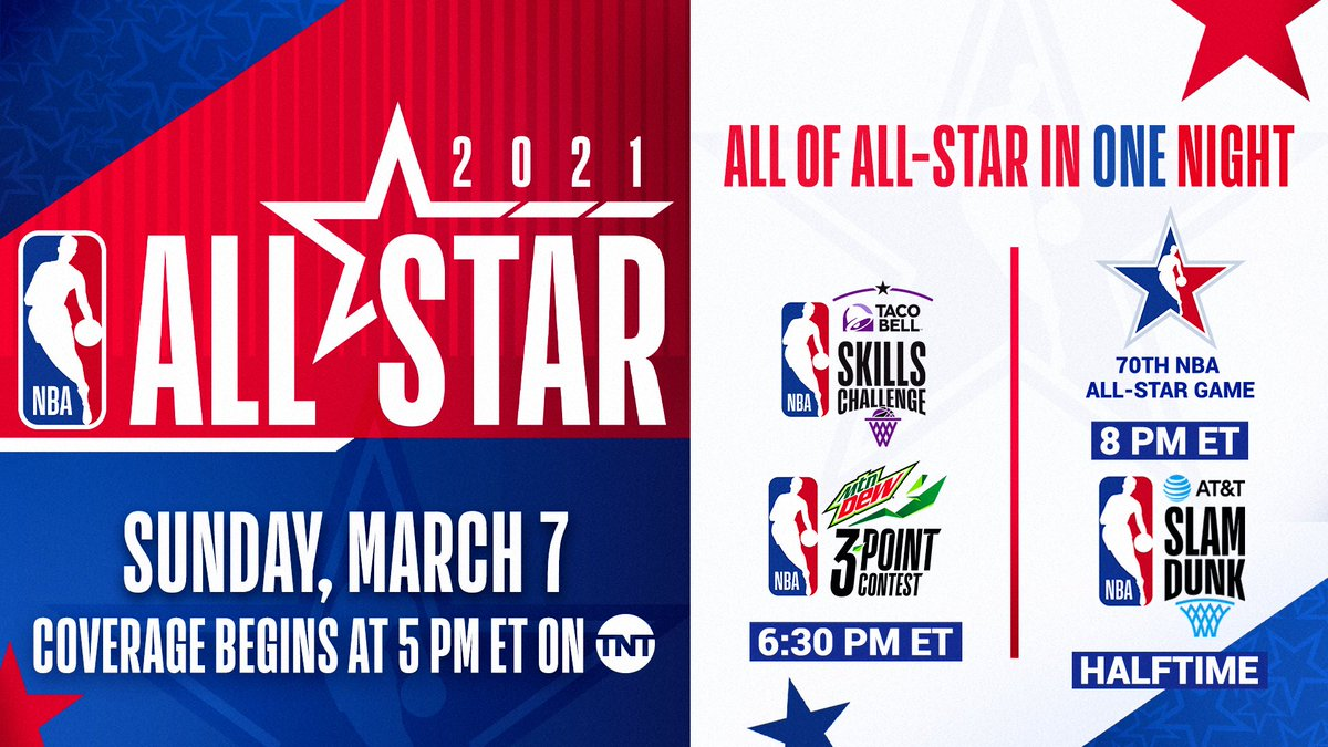 ICYMI: All of All-Star in One Night!  March 7 on TNT:  🌟 5pm/et: TNT NBA Tip-Off presented by CarMax  🌟 6:30pm/et: #TacoBellSkills & #MtnDew3PT 🌟 8pm/et: 70th NBA All-Star Game 🌟 Halftime: #ATTSlamDunk  Learn More: https://t.co/7Tfxrqys69 https://t.co/q9vF9vFwsj