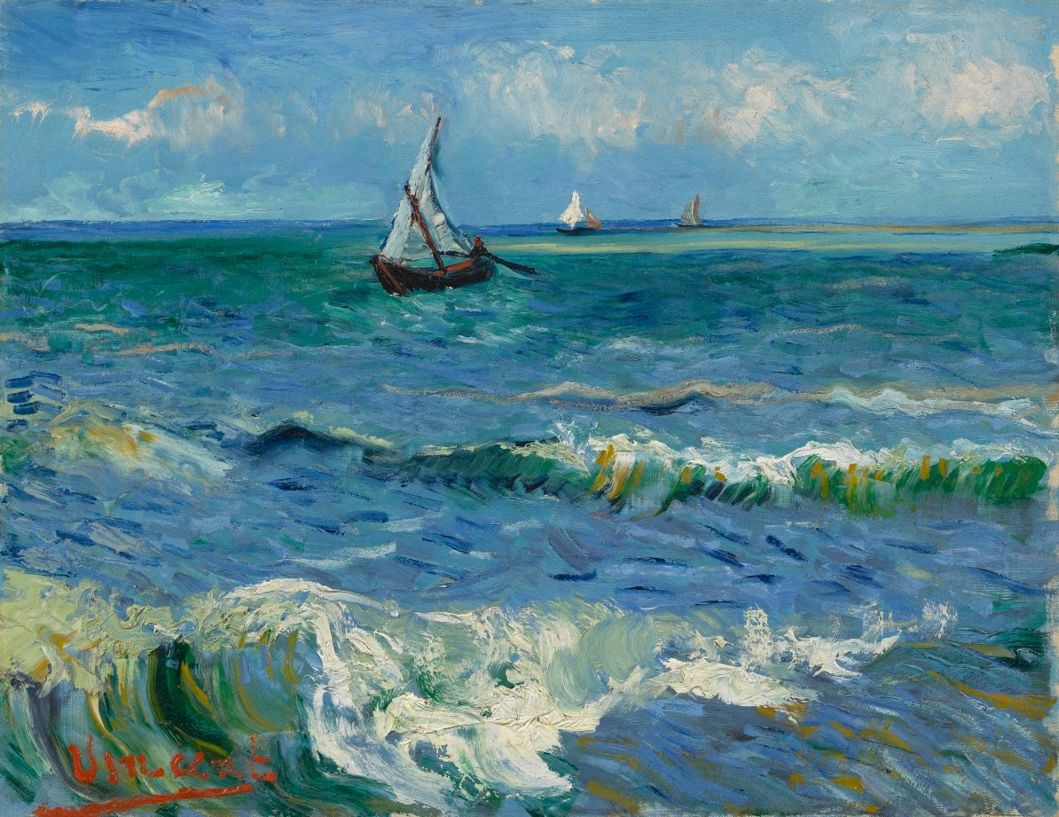 When Van Gogh travelled to Les Saintes-Maries-de-la-Mer. He had never seen the Mediterranean Sea before. He had to travel for hours in a coach to get there. But after the trip, he was greeted by the Mediterranean. Can you feel the fresh sea air when you look at this painting? https://t.co/9PIehZhj6X