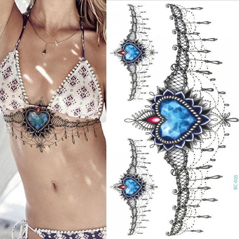 Under Breast Sapphire Necklace Fake Tattoo #tattoomaster #pink