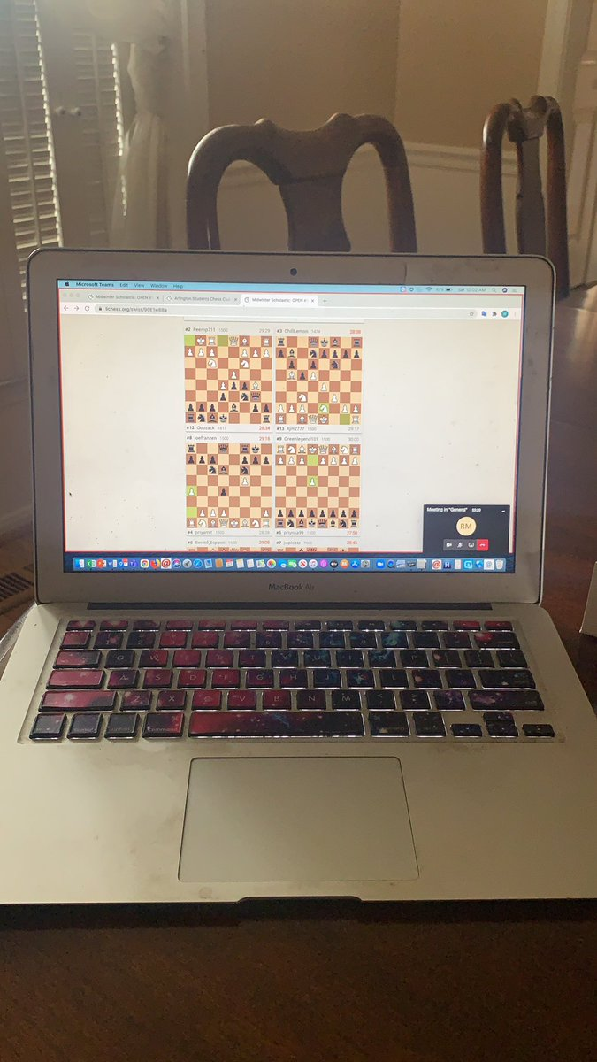 Wish us luck on our first Chess Tournament of the year.  All participants are home safe while we have a virtual Tournament.  <a target='_blank' href='http://twitter.com/Margaretchungcc'>@Margaretchungcc</a> <a target='_blank' href='http://twitter.com/APSCareerCenter'>@APSCareerCenter</a> <a target='_blank' href='https://t.co/F1AQux9FR5'>https://t.co/F1AQux9FR5</a>