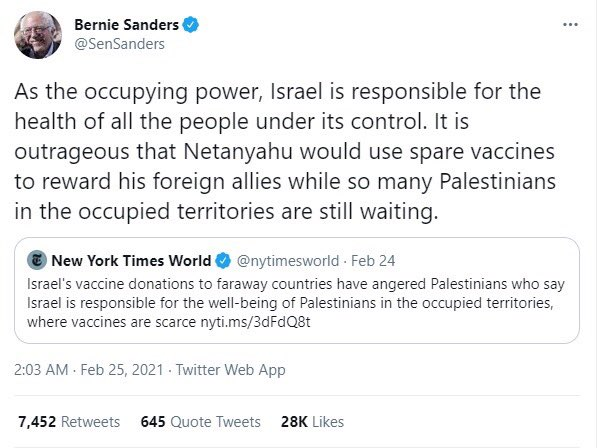 #Palestinians can survive without those vaccines, but #Bernie, don't you think tackling the occupation part of the problem is the priority here?! @MEpeace3  #BDS
