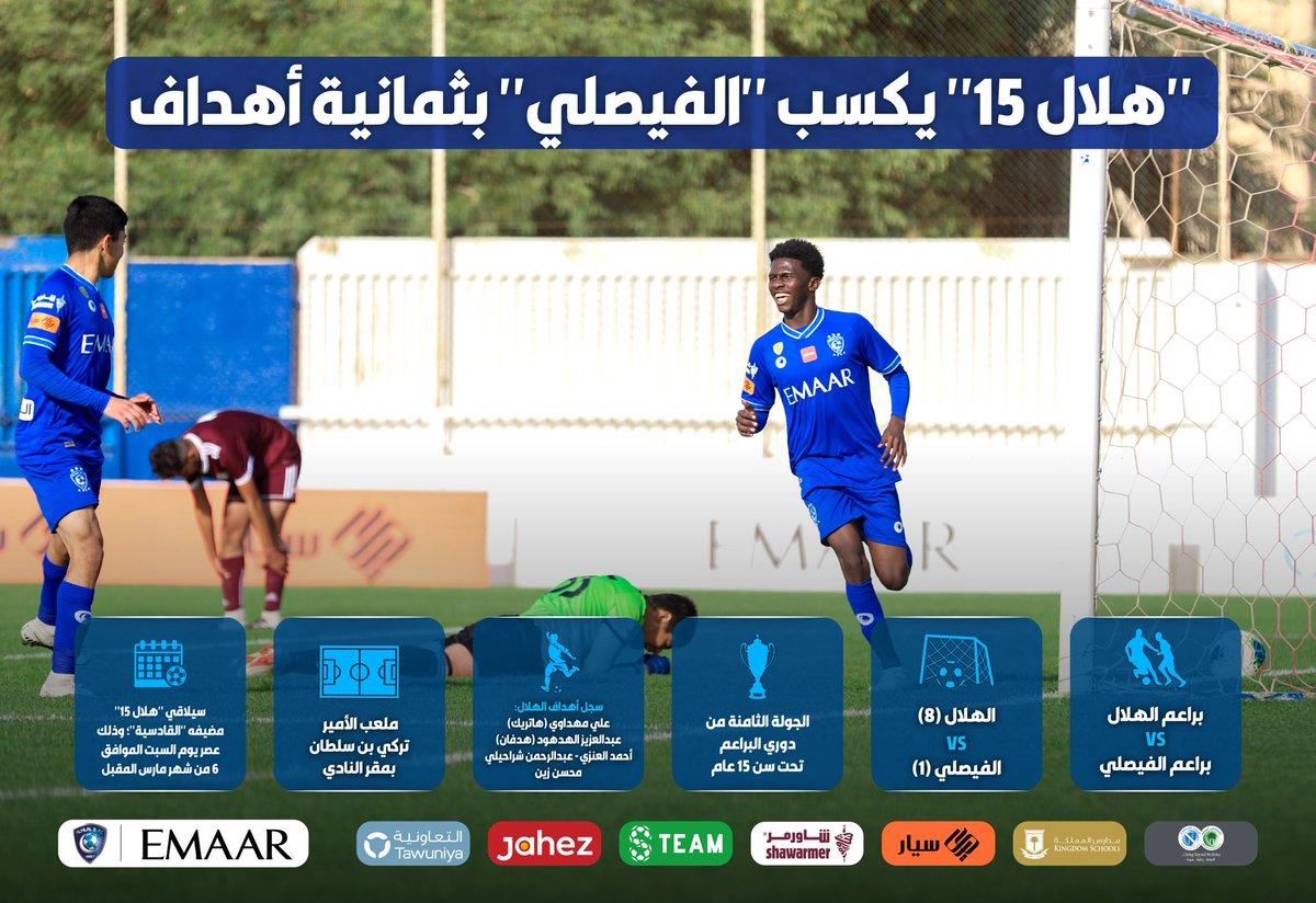 """📃 """"هلال ١٥"""" يكسب الفيصلي بثمانية أهداف 👏🏻😍💙  #انفوجرافيك_الهلال"""