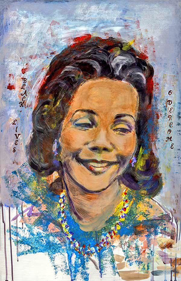 Portrait by #JoanBaez of #CorettaScottKing  I am not your Cute Little Colored Gal  Acrylic on panel