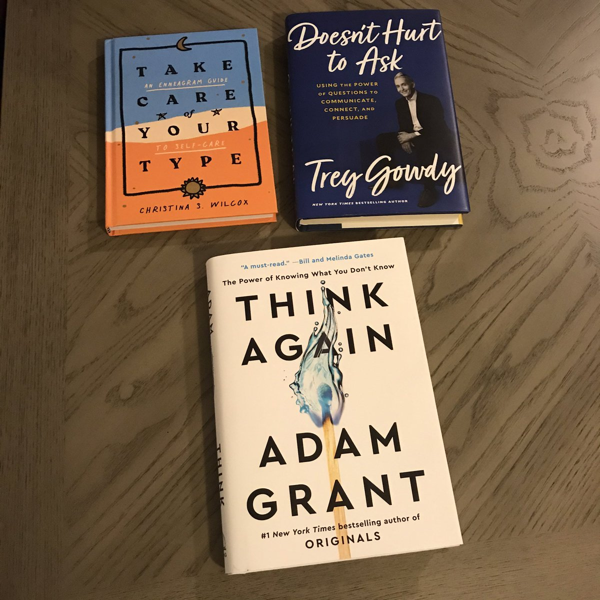 My reading list! 📚 Book on #Enneagram - such an insightful read! Already finished on my flights to Florida. 🌊 The brilliant @AdamMGrant new 📖book! Next up - @TGowdySC new release Thanks @DanaPerino for suggestions and to my wife, Nicole, for these great gifts!