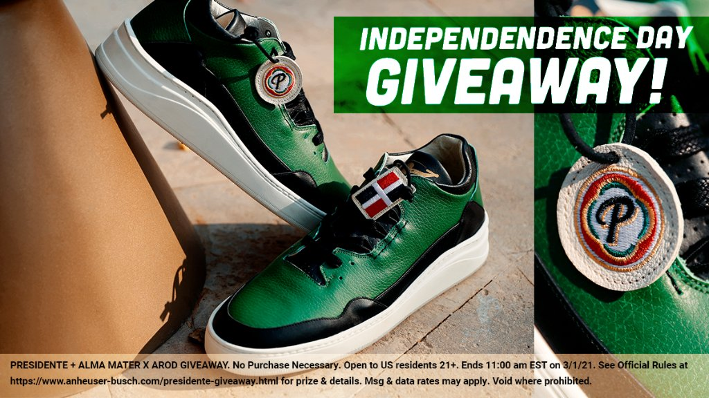 🚨 INDEPENDENCE DAY GIVEAWAY 🚨  🇩🇴 Show your DR pride with these limited-edition PRESIDENTE X Alma Mater X @AROD sneakers.   To enter for a chance to win 1 personal pair: follow @presidenteusa & @arod, reply with #giveaway and tag 2 friends 21+. Or preorder at link in bio!