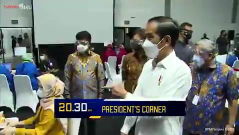 Presiden @Jokowi  meninjau pelaksanaan vaksinasi COVID-19 kepada insan pers, sebagai salah satu pelayan publik di garda terdepan. Kegiatan ini sesuai dgn janji presiden utk memberi 5.000 vaksin pada awak media. Selengkapnya di #PRESIDENTSCORNERMETROTV Minggu (28/2) pkl 20.30 WIB.