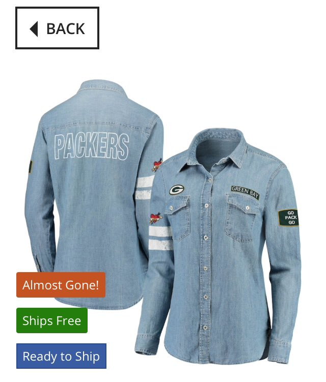 Check out these new #Packers #Bears #Raiders denim Jean shirts from @WEARbyEA @ErinAndrews  These are awesome Erin. #RunItBack we need them in the #Chiefs & #Buccaneers  @Fanatics #WEARbyEA #ErinAndrews