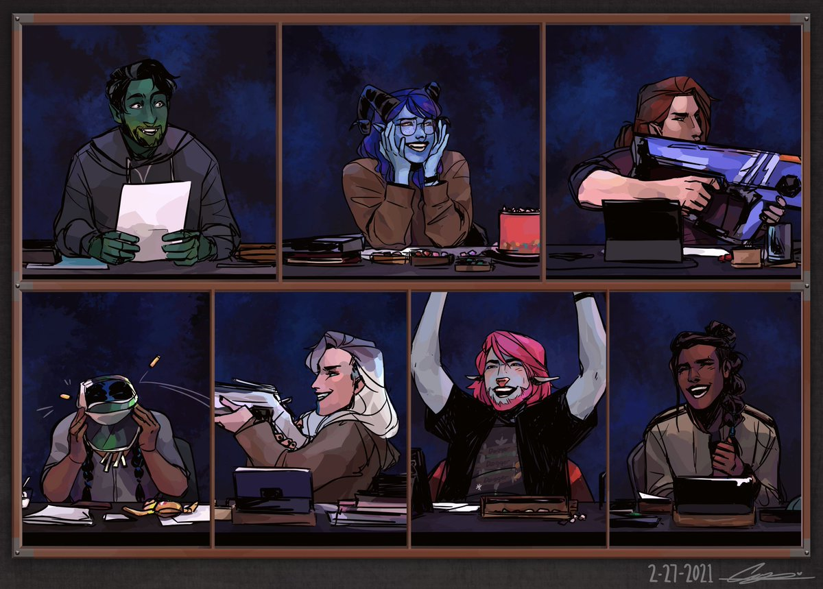 [alternative format + close-ups in the thread!]  (1/4) always count on me to draw the m9 as the cast during the stream than actual art pertaining to the story. this week: another rendition of sam's ad.  #criticalrole #criticalrolefanart #criticalroleart @CriticalRole @samriegel