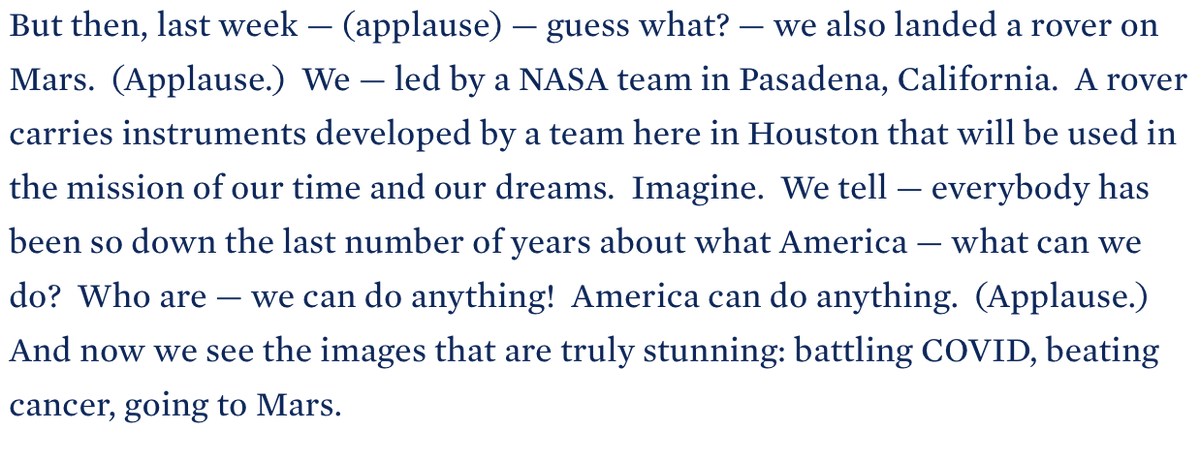 Comments made yesterday by @POTUS #JoeBiden in Houston about @NASAPersevere landing on #Mars #BuildBackBetter #ScienceIsBack #countdowntomars