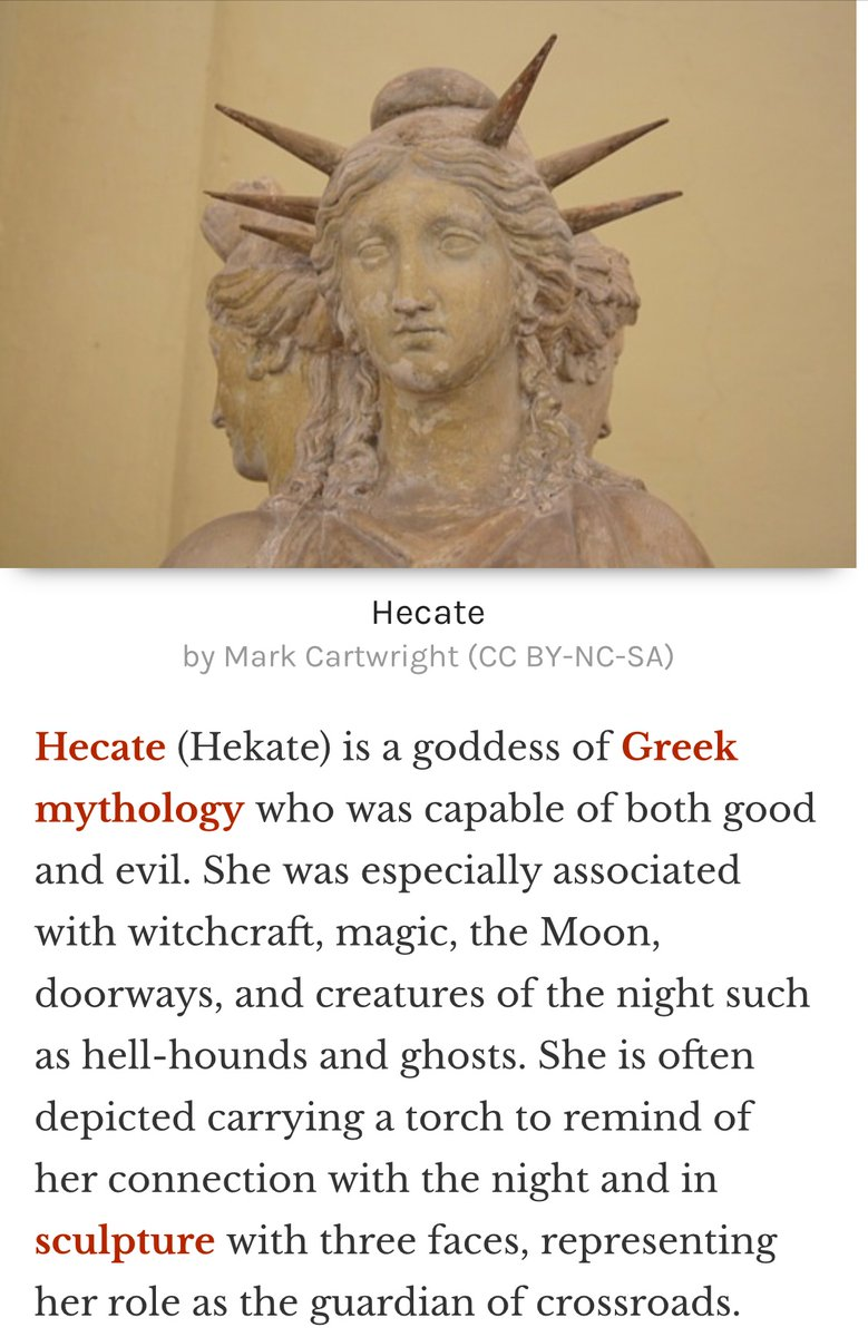 I finally have time to watch the 4th season of #Sabrina and since they renamed their church the Church of Hecate, I started reading about her. And holy shit I just realized Lady Liberty represents Hecate. Idk about y'all but I think it's hella cool 🙃