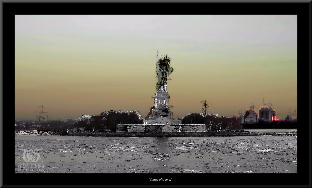 Statue of Liberty, New York City   There Is No Saving a World Which is Bent on Destroying Itself Grey Cross Studios #art #climatechange #climatechangeisreal #climateaction #ClimateChangeart #extremeweather #climatechangeaction #dystopia